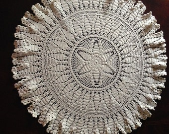 Vintage crocheted doily, soft white