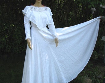 Vintage WEDDING DRESS  Puszta Tergal 1970s folk etno rustic style AMAZING