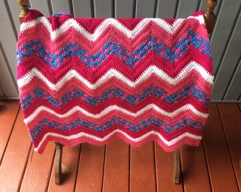 """Clearance:  Ripple baby blanket 30""""x 40"""". Baby afghan, lap afghan, lap blanket.  This is ready to ship"""