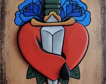 Knife in a Heart with Blue Rosses, Old School, Handmade