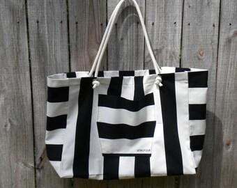 Black and white stripe large beach bag, tote bag, canvas bag