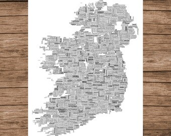 Typographical Map of Ireland Poster
