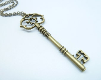 Promotion-1PCS Bronze Key Necklace / Brass Key Necklace / Fantasy Key Necklace / Key Jewelry / Key of Love CN3014-2