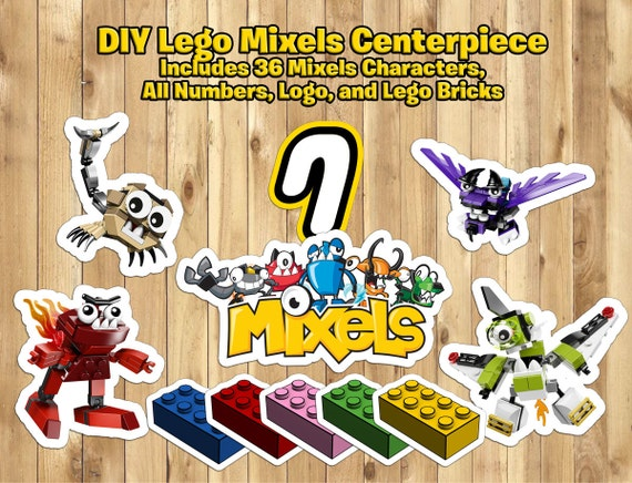 DIY Lego Mixels Centerpiece -36 Characters 5 Lego Blocks All Numbers and Logo Download Print Mixels Decoration Mixels Birthday Decoration