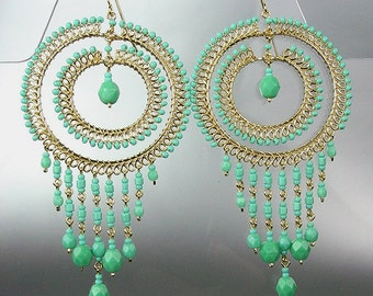 GORGEOUS Turquoise Blue Crystal Beads Chandelier Dangle Earrings, Bohemian Earrings, Cascading Dangle Earrings, FREE SHIPPING!