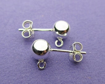 New 16mm 925 Sterling Silver Earstuds with 6mm Full Balls and Butterflies 1 Pairs