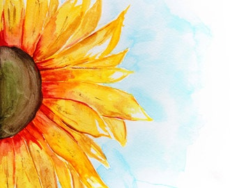 Watercolor Sunflower- 8X10 Print
