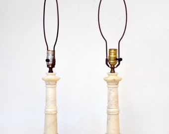SALE! Pair of Italian Marble new classic Hollywood Regency column table lamps