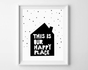 Nursery Prints, Nursery Wall Prints, Nursery Wall Art, Happy Place, Scandinavian,  Nursery Decor, Nursery Printable, Nursery illustration
