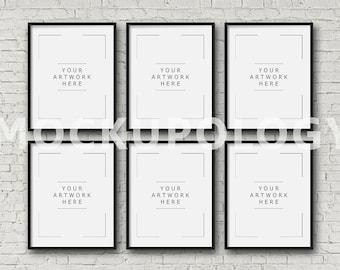 8x10 16x20 24x30 set of six vertical digital black frame mockup styled photography poster mockup white brick background instant download
