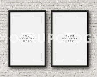 11x17 set of two vertical digital black frame mockup styled photography poster mockup white brick background triptych instant download