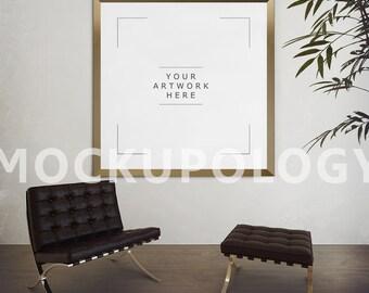Square Gold Frame Mockup, Poster Mockup, Digital Poster Frame, Styled Photography Mockup, Product Mockup, Framed Art,  INSTANT DOWNLOAD