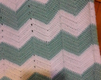 Chevron Baby Blanket in Blue and White