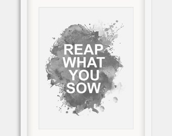 """Inspirational Print """"Reap What You Sow"""" Typographic Print,Motivational Quote,Inspirational Print ,Wall Decor,Typography,Instand Download"""