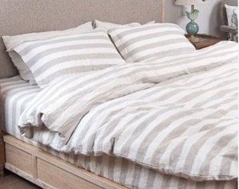 Natural Linen ticking stripe duvet cover in Queen, King size, custom made linen bedding, grey and white stripe duvet cover