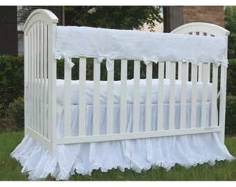White Crib Rail Guard with piping,  bumperless crib bedding Linen crib rail guard, rail cover for crib,