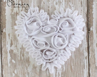 CLEARANCE! White Unfrayed Chiffon Heart - Rosette Heart Applique - Valentines Day Flower Supplies - Wholesale Flowers-Boutique Hair Supplies