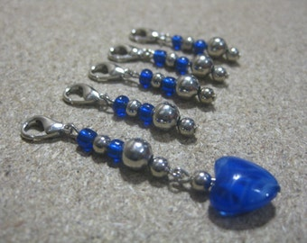 Blue and silver removable stitch markers-stitch markers knitting-stitch markers crochet-gift for knitters-glass stitch markers-set of 5