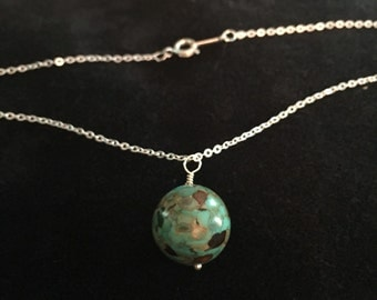 Mosaic turquoise pendant sterling chain