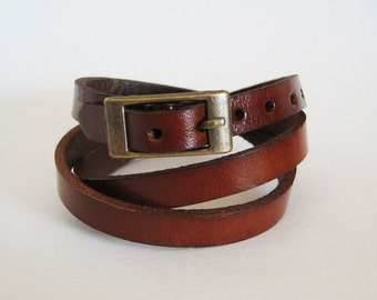 Watch band and straps -Wrap bracelet - Brown  leather wrap watch