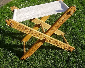 Medieval folding chair - faldistorium with lilyes