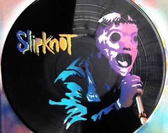 Artistic version of SlipKnot vinyl record spray paint handmade decoration stencil clock