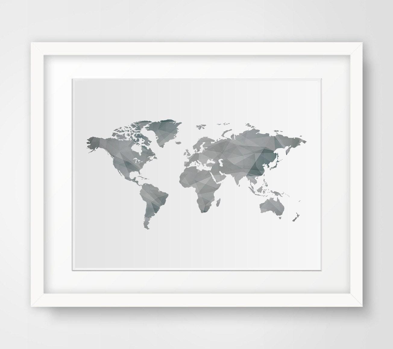 Wall art print modern wall decor world map print world map for World map wall print