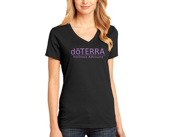 doTERRA - Approved and Compliant - Black Ladies V-neck T-Shirt