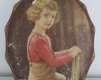 Rare Vintage Oval Large Tin Box Côte d