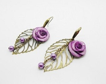 marriage: Earrings leaves and roses shaped purple