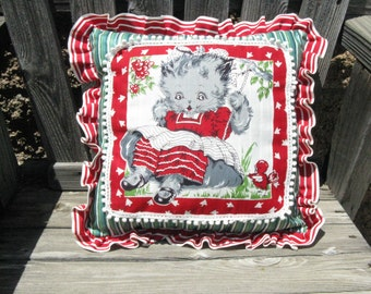 Child's Hankie Turned Pillow/ Handcrafted Pillow/ One of a Kind/ 50s Vintage Hankie