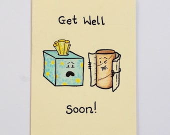 Get Well Soon Tissues - Funny Card - Tissue box