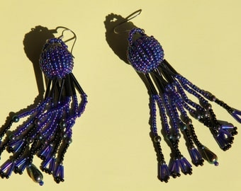 Blue African style earrings.