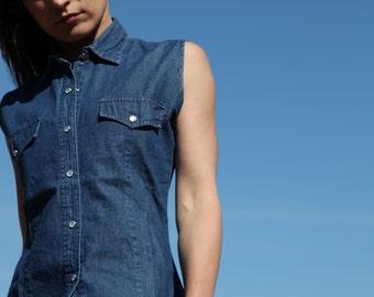 Blue jeans denim sleeveless collar shirt.size s
