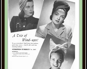 3 Styles of TURBANS Hat WIND-UPS Cancer Crochet Pattern Vintage 1942 The Spool Cotton Company