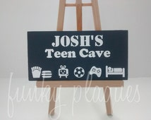 Personalised Teen Man Cave Door Sign Name Plaque Teenage Teenager Boys Room Decor Bedroom Accessories Funny Gift