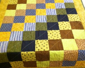CUSTOM Stepping Squares quilt kit: fabric and instructions--your colors! (TOP ONLY)