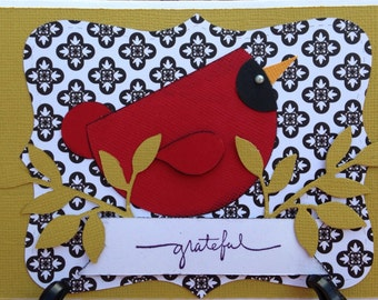 Handmade thank you card- thank you- card- grateful- bird card- cardinal