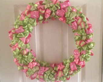 Pink and green ribbon wreath
