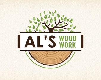 Tree Logo   Wood Logo Design   Woodworking Logo   Forestry Logo   Wood Shop Logo   Logo Design   Premade Logo   Logo   Graphic Design Logo