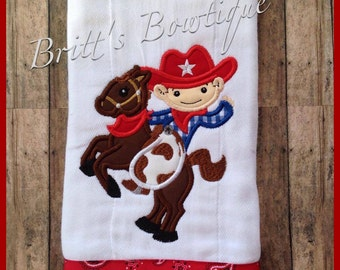 Cowboy on horse Rodeo custom embroidered baby burp cloth