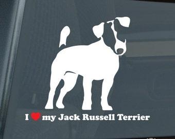 I Love my Jack Russell Terrier Die Cut Vinyl Sticker - 198