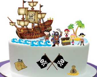 Childrens Pirate Scene made From Premium Edible Wafer Paper - Cake Topper decoration