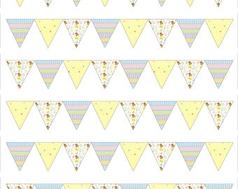 Baby Shower/New baby Style Bunting Edible Icing Sheet Cake Topper Decoration