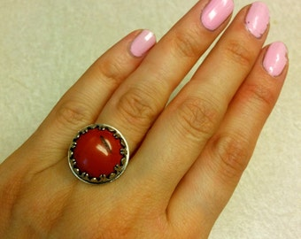 Sterling silver ring with red jasper