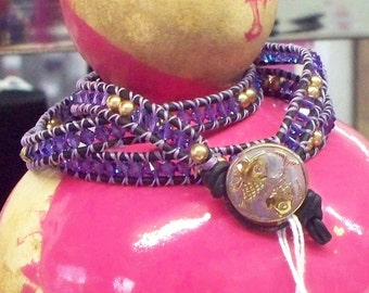 Swarovski Braclelet! Bling and Sparkle with Royal Purple and Gold!