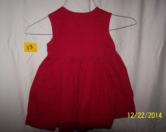 60s Vintage Red Corduroy Dress 18 mo. to 2T