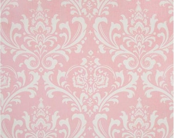 1/2 Yard Pink and White Damask Fabric - Premier Prints Bella and White Twill Ozbourne Damask Fabric HALF YARD ozborne osbourne osborne