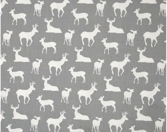 1/2 Yard Gray and White Deer Fabric - Premier Prints Storm and White Twill Deer Fabric HALF YARD