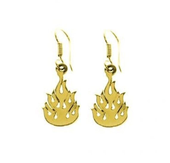 14K Gold Flame Earrings